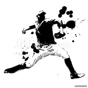 野球選手 投手 ピッチャー 手描きイラスト
