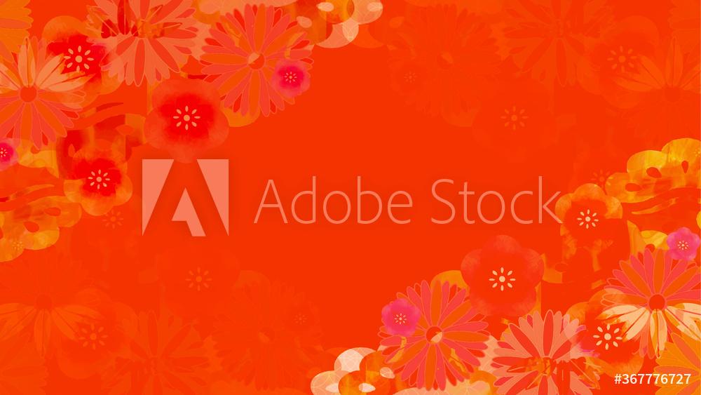梅の花が描かれた和柄の赤い正月用の背景イラスト