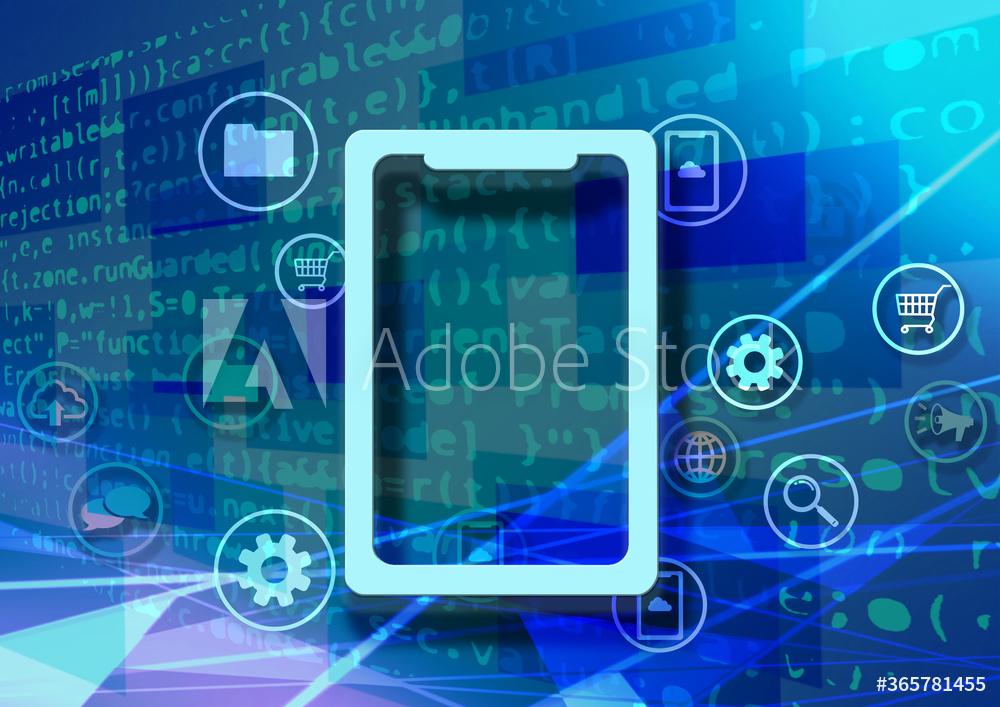 タブレット端末と青い仮想空間のテクノロジー系背景イラスト