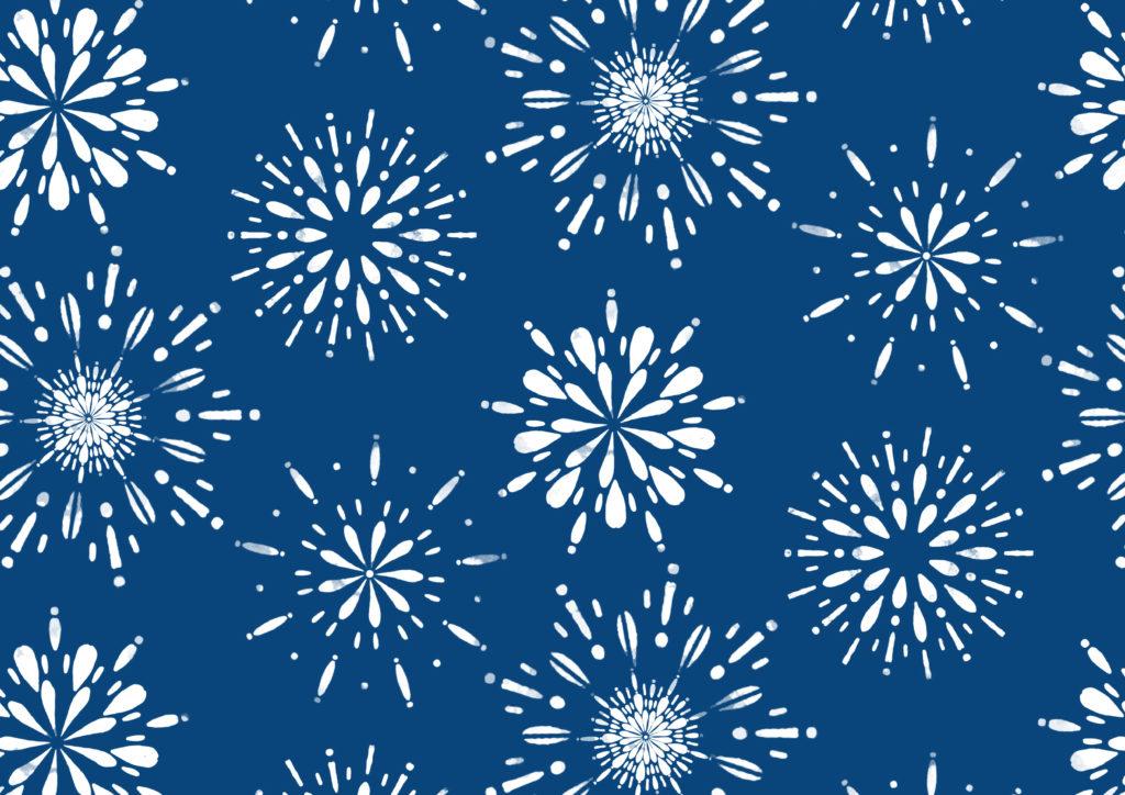 花火 夜空 夏の風物詩 シームレスの和柄 青
